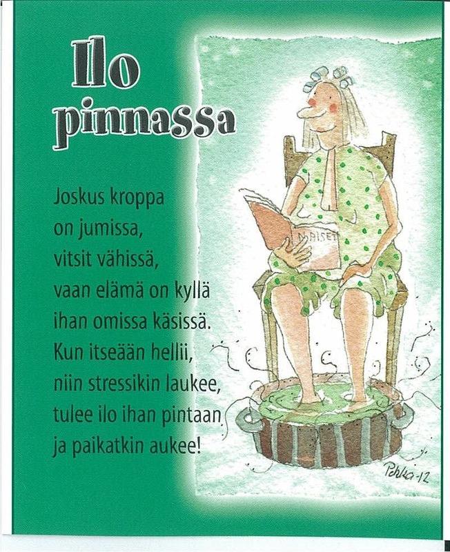 Postikortti jossa rentoutuva nainen jalat yrttikylvyssä